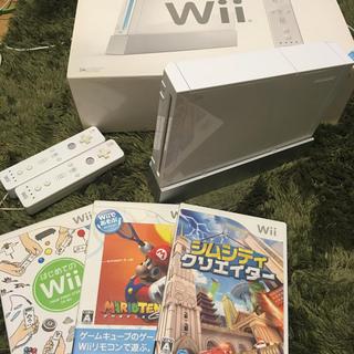 ウィー(Wii)の[美品]NINTEND Wii+ソフト3本(家庭用ゲーム本体)