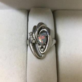 ダイヤモンド×ブラックオパール リング Pt900 0.60ct 10.4g(リング(指輪))