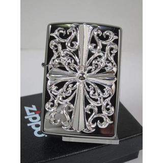 ジッポー(ZIPPO)のZippo シルバークロス・メタル Cross 銀黒 #150M-CRS(タバコグッズ)