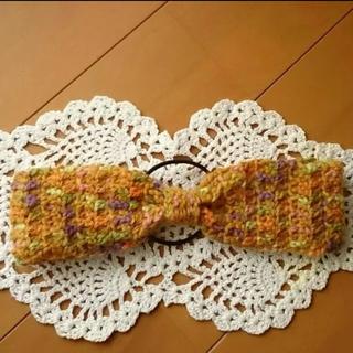 ハンドメイド  手編みのカチューム マスタードマルチカラー かぎ針(ヘアアクセサリー)