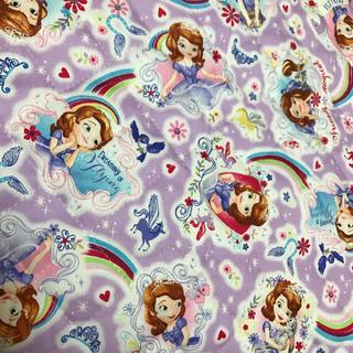ディズニー(Disney)のちいさなプリンセスソフィア キルティング生地 はぎれ 紫 パープル ディズニー(生地/糸)
