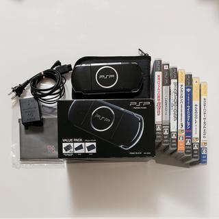プレイステーションポータブル(PlayStation Portable)のPSP3000 バリューパック ピアノ・ブラック 本体+ソフト7本セット PSP(携帯用ゲーム本体)