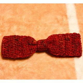 手編みのカチューム カチューシャ ヘアバンド ターバン 赤 マルチカラー (ヘアアクセサリー)