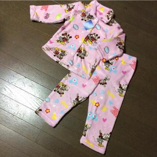 ディズニー(Disney)の新品 ミッキー&ミニー 子供 あったか フランネル パジャマ 110㎝(パジャマ)