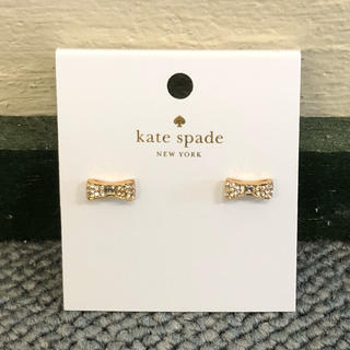 kate spade new york - ケイトスペード 新品 ピアス リボン シルバー系 保存袋付き C0366