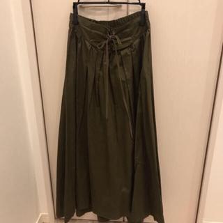 ダブルクローゼット(w closet)の(新品)wcloset カーキ ロングスカート(ロングスカート)