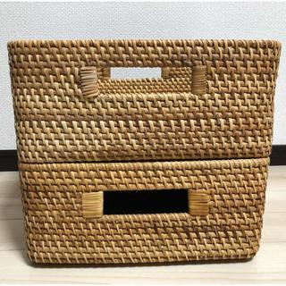 MUJI (無印良品) - 無印良品重なるラタンバスケット2個セット