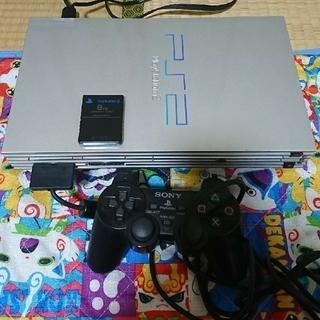 プレイステーション2(PlayStation2)のPS2本体シルバー メモリーカード&ソフト付き(家庭用ゲーム本体)