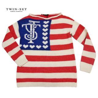 ツインセット(TWIN-SET)の新品ツインセットTEIN-SETイタリア製 アメリカ国旗風セーター #XS(ニット/セーター)