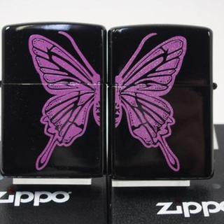 ジッポー(ZIPPO)のZippo ペア パープル バタフライ 蝶(チョウ)両面・紫B ラバーズ(タバコグッズ)