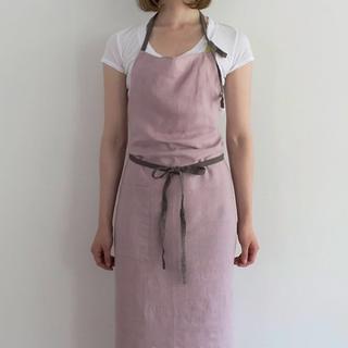即日発送 新品【ピンク】リネン エプロン シンプル 上質