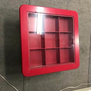 ガラス ローテーブル 収納付き 赤 レッド(ローテーブル)