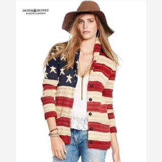 デニムアンドサプライラルフローレン(Denim & Supply Ralph Lauren)の新品*デニム&サプライ*星条旗柄 ショールカラーカーディガン*XSラルフローレン(カーディガン)