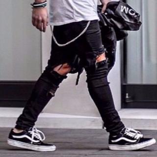サイズが選べる クラッシュデニム パンツ メンズ ブラック 黒 ジーンズ ボトム