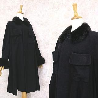 イッセイミヤケ(ISSEY MIYAKE)のイッセイミヤケ製 ZUCCA ズッカ 襟,袖ファー◎フレアコート(ロングコート)