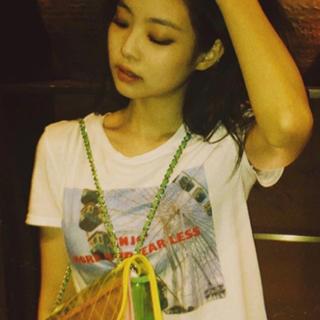 ザラ(ZARA)のBLACKPINKジェニー着用 新品 ZARA フォトプリントTシャツ(Tシャツ(半袖/袖なし))