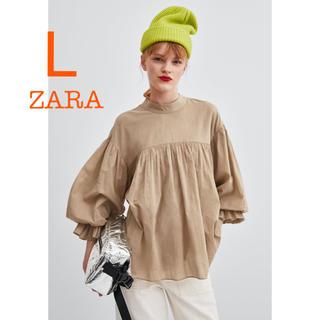ZARA - 新品未使用 ZARA ボリュームスリーブ 裾フリル ライトキャメル ブラウス L