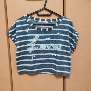 トゥララ(TRALALA)のレースのロゴ入りボーダーTシャツ(Tシャツ(半袖/袖なし))