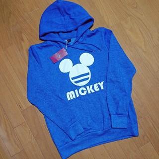 ディズニー(Disney)の新品 ミッキーパーカー MICKEY スウェットトレーナー 青 Mサイズ(パーカー)