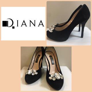DIANA - ダイアナ ブラックスエード  ビッグビジュー パンプス