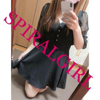 スパイラルガール(SPIRAL GIRL)の251.SPIRALGIRL シフォン フレアワンピース ブラック(ミニワンピース)