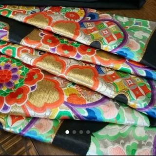 袋帯 正絹 黒地 成人式 振袖用 グリーン オレンジ 紫 黄色(振袖)