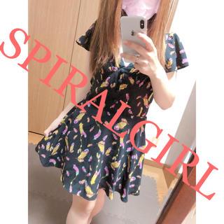 スパイラルガール(SPIRAL GIRL)の260.SPIRALGIRL  フェザー柄 コットン ミニワンピース(ミニワンピース)