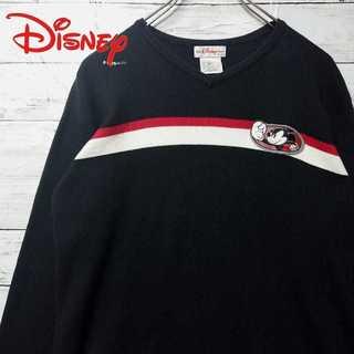 ディズニー(Disney)の美品 Disney ミッキー レトロカラー セーター V首 N78(ニット/セーター)