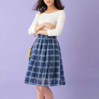 トランテアンソンドゥモード(31 Sons de mode)のシアーチェックスカート(ひざ丈スカート)