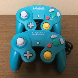 ニンテンドーゲームキューブ(ニンテンドーゲームキューブ)のGCコントローラ エメラルド 2個(家庭用ゲーム本体)