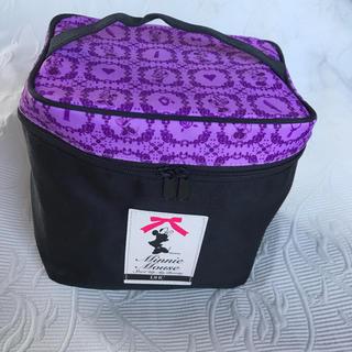 ディズニー(Disney)のミニーマウス オリジナルバニティバッグ 黒 × 紫(ポーチ)