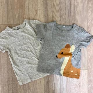 MUJI (無印良品) - 美品 無印良品 90 半袖Tシャツ 2枚セット アニマル 鹿柄 無地 グレー