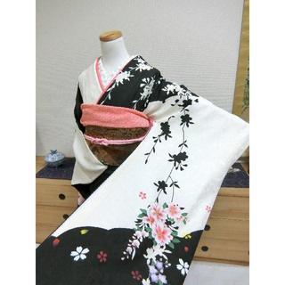 すず304♪白と黒桜柄モダンな振袖5点セット(振袖)