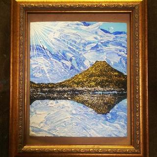 【湖に映る富士山】アクリル絵画。ラメつき。