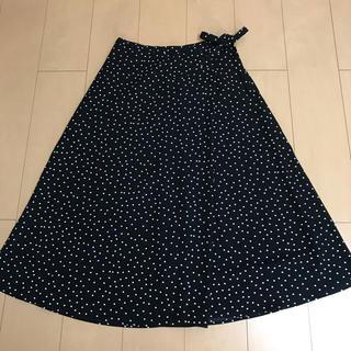 GU - GU ミモレ丈ドット柄スカート XL