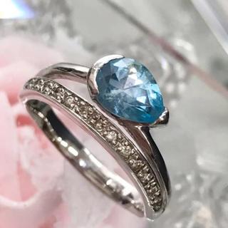 K18 WG 水色石付き ダイヤモンド リング 19-122(リング(指輪))