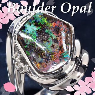 Pt900ボルダーブラックオパール/ダイヤモンド0.05ctリング CM107(リング(指輪))