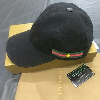 グッチ(Gucci)のGUCCI 帽子 キャスケット グッチ メンズ キャンバス帽子  ブラック(キャスケット)
