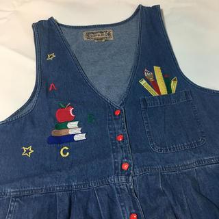 パナマボーイ(PANAMA BOY)の古着屋購入 デニム ワンピース 刺繍 ステッチ 文房具柄 りんご ボタン(ロングワンピース/マキシワンピース)