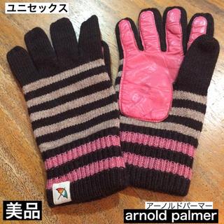 アーノルドパーマー(Arnold Palmer)の使用少 美品 アーノルドパーマー ニット手袋 ボーダー柄 手のひら革 ピンク(手袋)