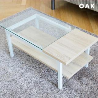 収納スペース付き ガラス テーブル オーク(コーヒーテーブル/サイドテーブル)