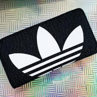アディダス(adidas)のadidas デニム ラージサイズ ラウンドファスナー 長財布 ウォレット 通帳(長財布)