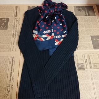 ニッセン(ニッセン)の【Nissen・お洒落なスカーフ付きプルオーバー 紺】(ニット/セーター)
