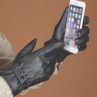 今だけ価格★スマホ 対応 レザー 手袋 裏起毛  メンズ ブラック フリー(手袋)