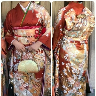 振袖 袋帯 セット 正絹 朱色 成人式 結婚式(振袖)