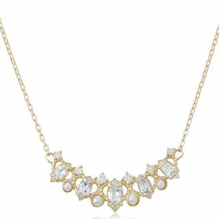 agete - レア! アガットクラシック K14 サファイア ダイヤモンド パール ネックレス