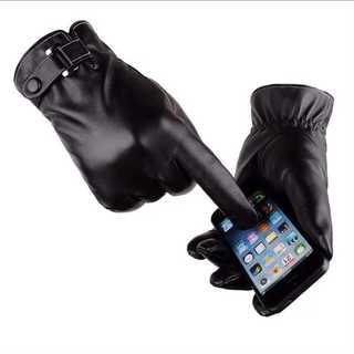 タッチパネル対応 手袋 防水防寒レザーグローブ バイク自転車 運転 ブラック(手袋)