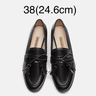 ザラ(ZARA)の【タグ付き新品】ザラ スタッズ ローファー 38(ローファー/革靴)