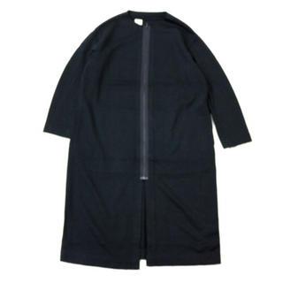 エヌハリウッド(N.HOOLYWOOD)のエヌハリウッド ノーカラージップコート 黒 美品(ノーカラージャケット)