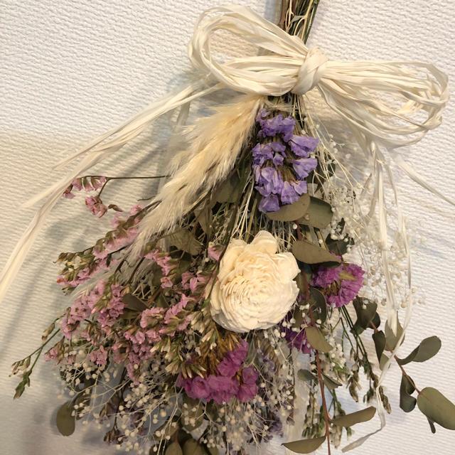ドライフラワー スワッグ ピンク×紫×白 ハンドメイドのフラワー/ガーデン(ドライフラワー)の商品写真